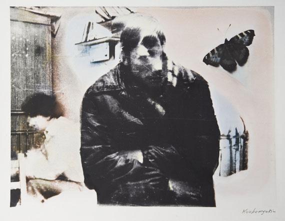 Sergey Kozhemyakin From the series Blue Butterflies, 1992Gelatin silver print, multi toning, mixed media