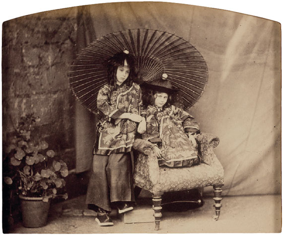 LEWIS CARROLL (1832-1898)Lorina and Alice Liddell in Chinese Costume, c. 1860Album printImage/sheet: 5 x 6 ½ in. (14 x 16 cm.)$10,000- 15,000