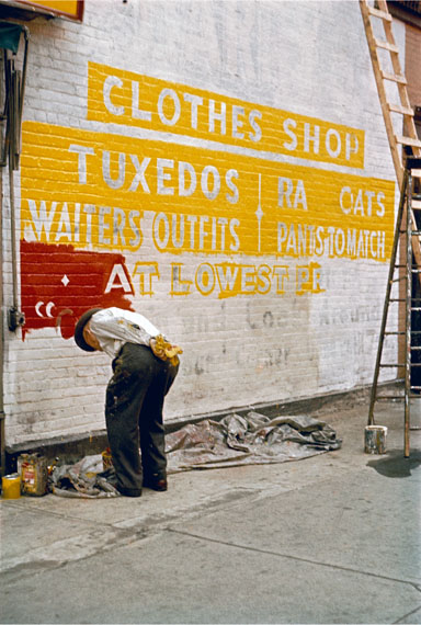 Saul Leiter: Sign Painter, 1954 © Estate of Saul Leiter, Courtesy Howard Greenberg Gallery, New York