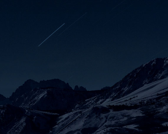Four Geostationary Satellites Above the Sierra Nevada, 2007 © Trevor Pageln, courtesy Galerie Thomas Zander, Köln / Altman Siegel Gallery, San Francisco / Metro Pictures, New York