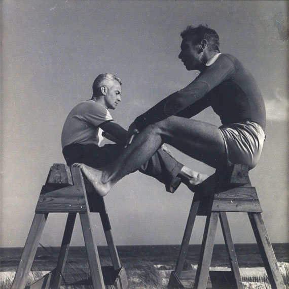 Lot 263: PaJaMa (Paul Cadmus, Jarend French and Margaret French), George Platt Lynes and Jared French, Fire Island, silver print, circa 1940. Estimate $1,500 to $2,500.