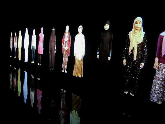 Krisna Murti (Indonesian, born 1957), installation of Video Hijab, 2012. Four-channel video with sound. Courtesy of the artist.