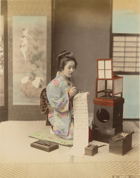 Kusakabe KimbeiGeisha writing a letteraround 1885coloured albumen printKunstbibliothek SMB