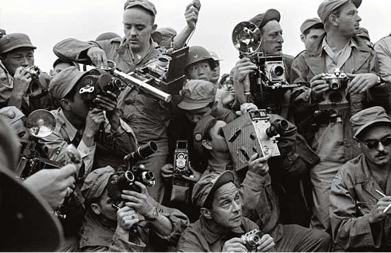 International Press photographers covering the Korean War. Kaesong, South Korea, 1952