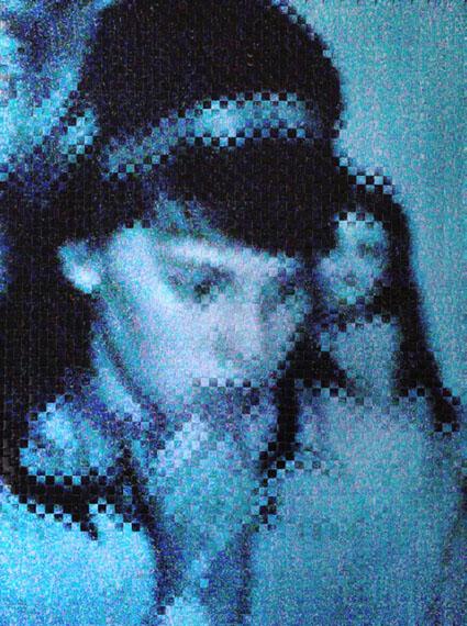 Sebastian Klug, girl in blue, 2014, woven photo print, 70 x 100 cm