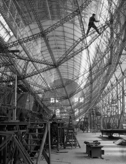 E.O. Hoppé: Skeleton of Graf Zeppelin, Friedrichshafen, 1928