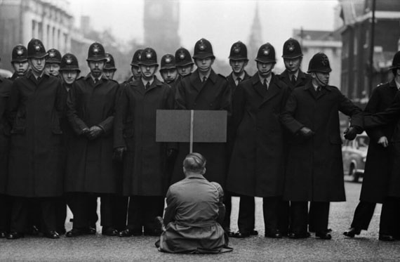 Don McCullinProtester, Cuban Missile Crisis, Whitehall, London196328 1/2 x 42 1/2 in.Gelatin silver print© Don McCullin, Courtesy of Hamiltons Gallery