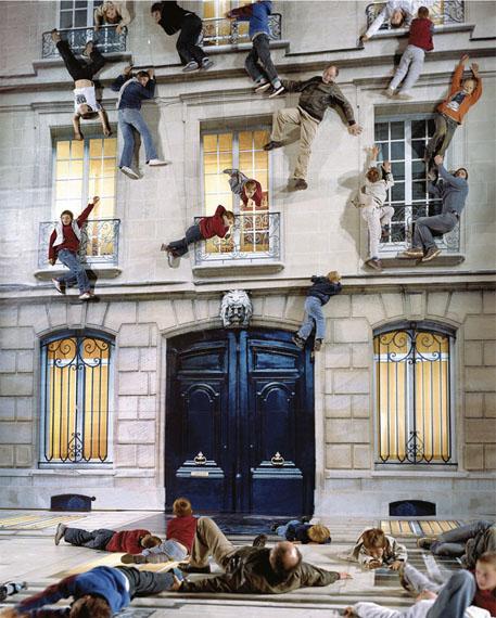 Building 2004Digital print on linoleum, light, iron, wood, mirror800 x 600 x 1,200 cmInstallation view: Nuit Blanche, Paris, 2004© Leandro Erlich