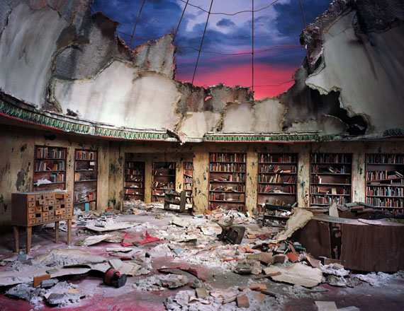 Lori Nix and Kathleen Gerber, Circulation Desk, 2012. Chromogenic Print, 48 x 62