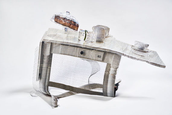 Bruno Zhu: White Table with Cake and Tea, 2015, aus der Serie: Table Works