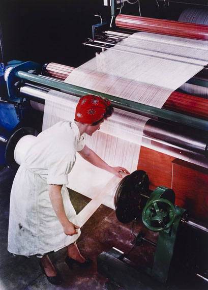 Preparing a warp, British nylon spinners, Pontypool, Wales 1964 by Maurice Broomfield