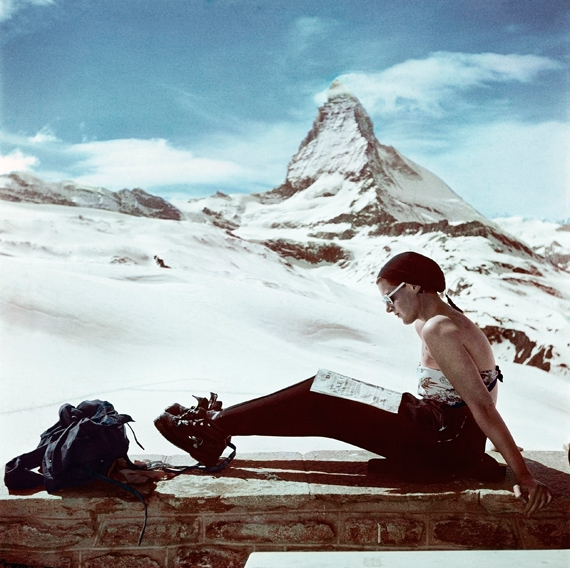 Robert Capa, Skier sunbathing in front of the Matterhorn Zermatt Switzerland 1950 