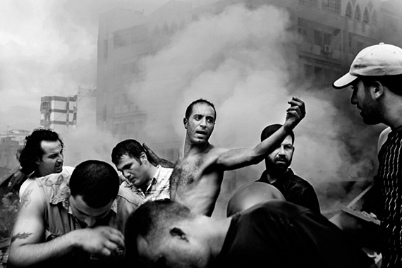 Paolo Pellegrin: LEBANON. Beirut. August 2006. Moments after an Israeli air strike destroyed several