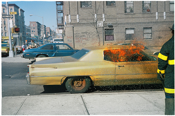 Judy Linn, burning car, 1986. Archival inkjet print, image size: 10 1/2 x 16 inches, paper size: 13 x 18 inches, edition of 12.