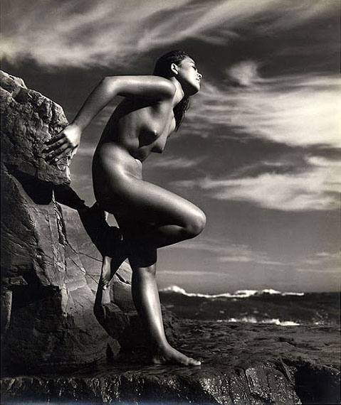 © Yoshiyuki Iwase: Untitled (Nude Standing On Rocks), 1955