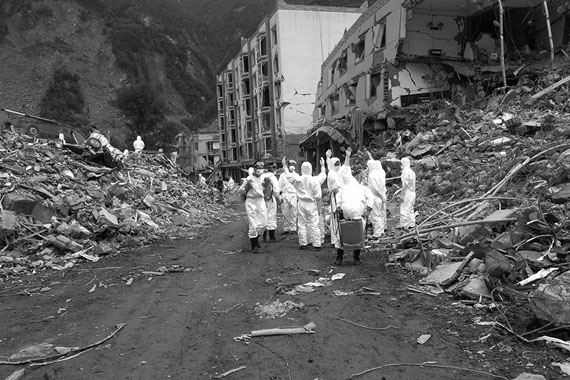 Sichuan Earthquake Photos, 2008. One of 16 black-and-white photographs. 20 x 13 35in/ 50.8 x 33.8 cm. Photo credit: Ai Weiwei