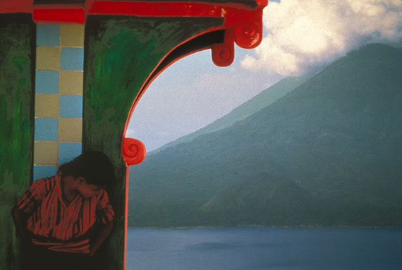 "Jeffrey Becom: Girl, Green Tomb, and Volcano, Solola, Guatemala 1995, 28x42"", Ilfochrome, AP"