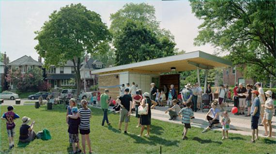 Scott McFarland, Pavilion Ribbon Cutting Ceremony, Jean Silbelius Square Park, June 10, 2012, Toronto, 2013, Courtesy of the artist