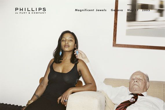 Juergen Teller: Ed´s Godmother, Stephanie Simon Hale and Artur TellerWerbung für Phillips de Pury & Co Magnificent Jewels, London, 2005Offsetdruck, 76 x 115 cm © Juergen Teller, Courtesy Lehmann Maupin, New York