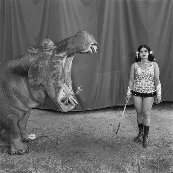 © Mary Ellen Mark, Hippopotamus and Performer. Great Rayman Circus, Madras, India, 1989