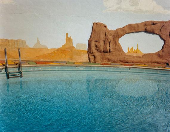 "Monument Valley Tableau, Scotty's Travel Motel, Salt Lake City Utah(September 1977)17x22"" pigment print on Platine paper© John Pfahl"