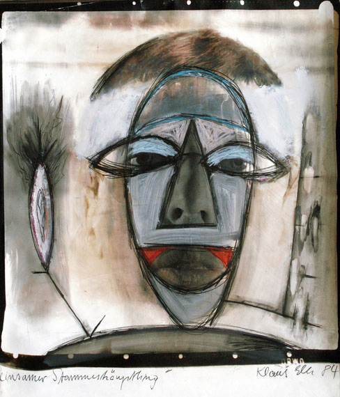 Klaus Elle: Einsamer Stammeshäuptling aus Selbstporträts 1984, Mischtechnik
