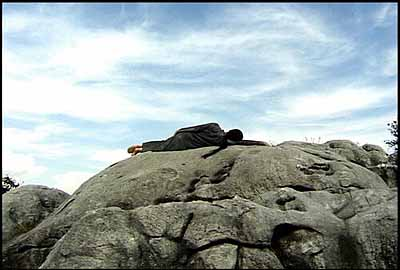 A Needle Woman, 1999, video still from performance, Kitakyushu, Japan