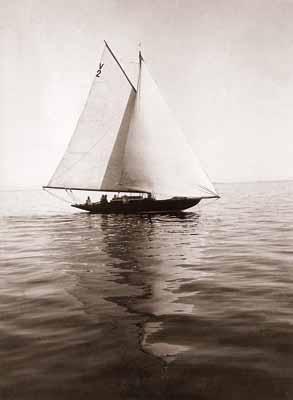 """Waldemar Abegg""""Segelboot Swantewit"""", 1906, Peking, 11,8 x 8,9cm,Vintage vermutlich Salzpapierabzug"""