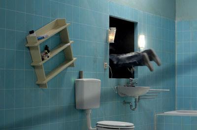 Julian Rosefeldt, Stunned Man (Trilogy of Failure (Part II), 2004Double channel-video installation Courtesy Julian Rosefeldt