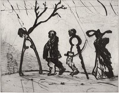 William Kentridge, Four Instruments, 2003, Kaltnadelradierung