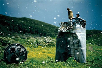 Jonas Bendiksen, 'Scrap collecting from a crashed spacecraft, Altai Territory, Russia', 2000, © Magnum Photos