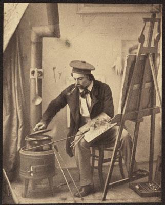 Marie-Alexandre Alophe: Caricature. La gloire et le pot-au-feu, Paris 1858, Übermalte Fotografie, 20,9 x 16,6 cm, Bibliothèque nationale de France Paris