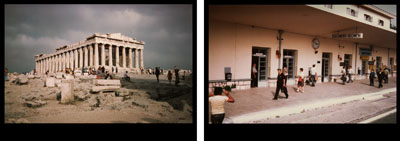 EVE SONNEMANTHE INSTANT AND THE MOMENT, GREECE, 1977diptych photographs on Cibachrome paper20 x 30 in. 50.8 x 76.2 cm