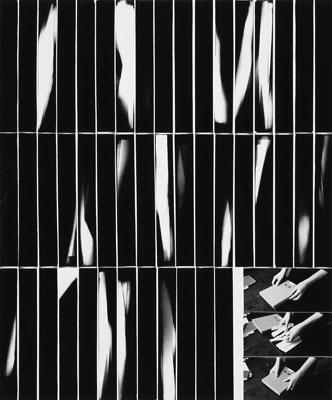Timm Rautert,  Unbelichtete Photopapierstreifen dem Tageslicht ausgesetzt. 3 Sekunden, danach normal entwickelt,1971, 54 x 45 cm, Bromsilbergelatine