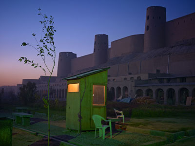 A security guard's booth at the newly restored Ikhtiaruddin Citadel, Herat, 201040x53' from an edition of 7© Simon Norfolk