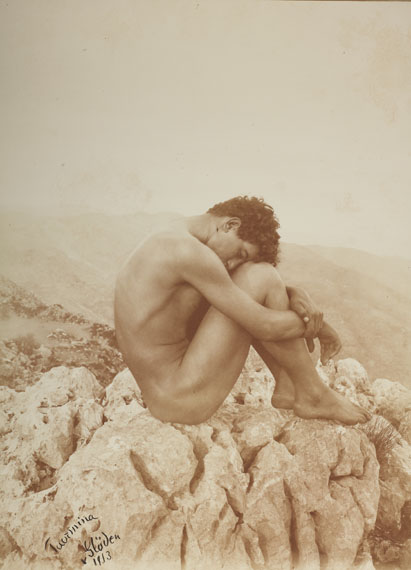 Wilhelm von Gloeden (1856–1931) , ›Cain‹, Taormina, Sicily c. 1900, Mat albumen print, Vintage, printed 1913,  39,3 x 29 cm (15.5 x  November 4 in), Signed, dated (print date) and annotated by the photographer in ink in the image lower left, photographer's stamp on the reverse, € 15,000 / € 25,000–30,000