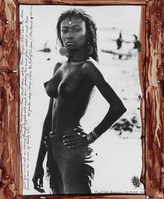 Lot 340: Peter Beard, Fayel Tall / El Molo Bay, Lake Rudolf, silver print with applied blood and feather, 1987, printed 1997. Estimate $20,000 to $30,000.© The Peter Beard Studio