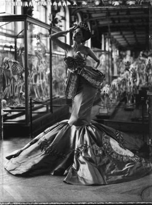 The Evolution of Fashion I, Dior Collection Winter 2004,, Musée d'Histoire Naturelle, Galerie d'Anatomie, Paris, 2010, Gelatin silver print, Large, edition of 10, 72 3/4 x 53 1/8 in., Medium, edition of 10, 51 x 35 1/4 in., Small, edition of 10, 23 5/8 x 19 3/4 in., © Cathleen Naundorf, courtesy of Hamiltons Gallery