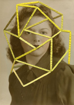 Julie Cockburn, In Yellow, 2011, Embroidery and acrylic on found photograph, 24.7 x 17.6 cm, © Julie Cockburn/ Courtesy The Photographers' Gallery, London