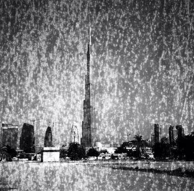 Ziad Antar, Burj Khalifa Expired, 2010, black and white silver print, 150x150cm, Commissioned by Sharjah Art Foundation, Artist in Residence, courtesy of the artist