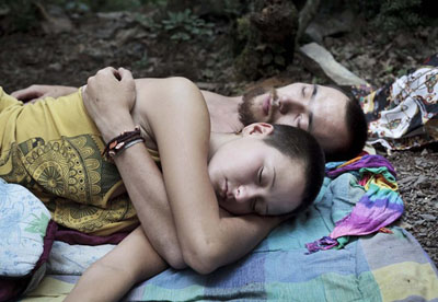 Lama and at that time his girlfriend Nastya, Sleeping after arriving to Utrisch. Krasnodarsky kray, Russia © Pavel Prokopchik