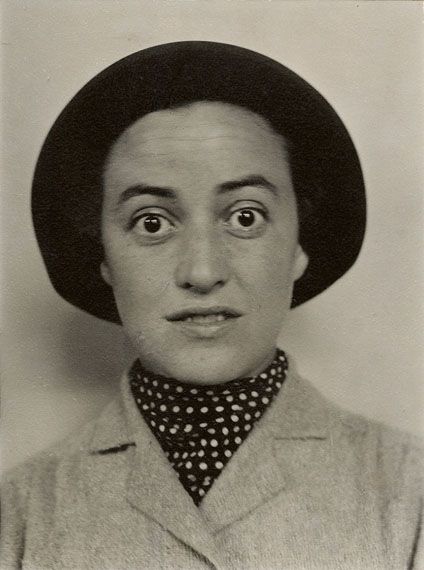 "Alfred Stieglitz""PORTRAIT OF DOROTHY NORMAN"". 1930sVintage. Gelatin silver print by Dorothy Norman at the request of Alfred Stieglitz. 8,5 x 6,4 cm. Laid down on cardboard, thereupon on the reverse titled in pencil by Dorothy Norman and stamp: ""For Philadelphia Museum Collection Dorothy Norman""."