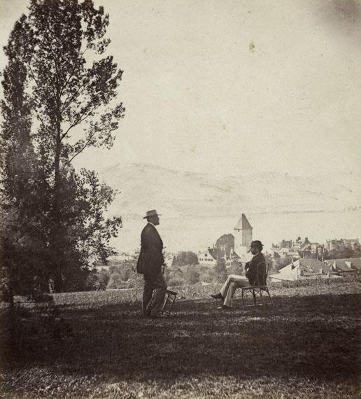 Lausanne, vue sur Ouchy depuis la propriété Le Colibri (view of Ouchy from the Le Colibri property), 1868©collections Musée historique de Lausanne