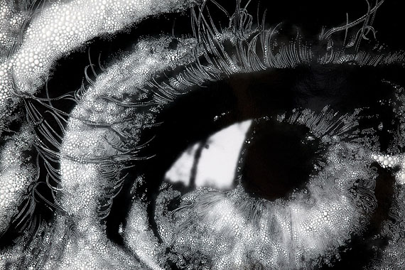 """Eye #8, 2012 (After Bill Brandt, """"Henry Moore's Eye, 1972"""") Detail, Unique hand-painted gelatin silver enlargement print with mixed media, 43 7/8 x 40 1/16 inches"""