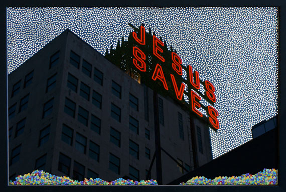 Jesus Saves2010Perforated C-print, confetti, frame66 x 100 cmEdition 5