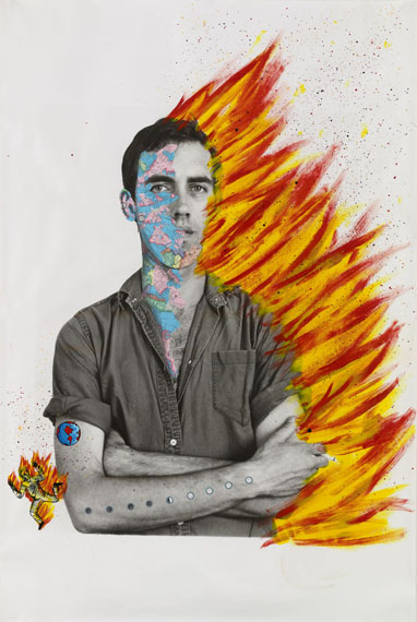 David Wojnarowicz (1954–1992) with Tom Warren, Self-Portrait of David Wojnarowicz, 1983–84. Acrylic and collaged paper on gelatin silver print, 60 × 40 in. (152.4 × 101.6 cm). Collection of Brooke Garber Neidich and Daniel Neidich, Photograph by Ron Amstutz