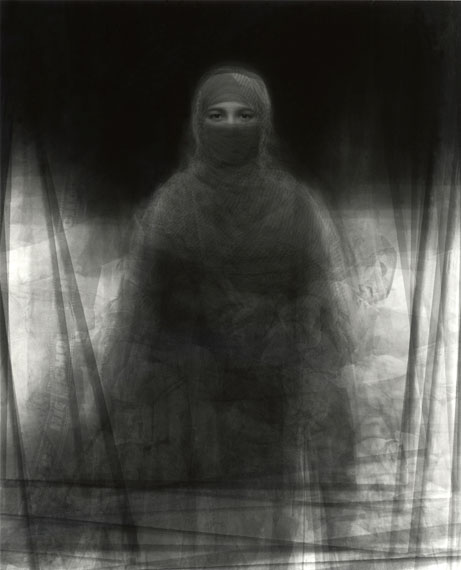 Ken Kitano: Metaportrait of 23 Muslim Women Wearing Burukas,Nira, Bagachara, Bangladesh, 27 July 2008, 2008Gelatin silver print, L/177 x 142 cm, S/31 x 25 cm (Edition of 7)