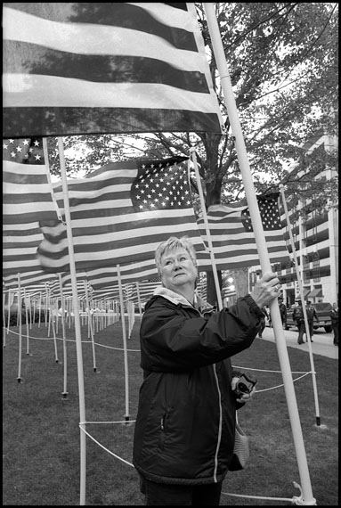 """Marissa Roth """"Beckie Dixon With Her Son Christopher's Memorial Flag,"""" Columbus, Ohio, 2005"""