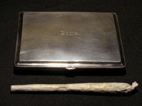 Natascha StellmachGone., 2008second-hand 925 silver cigarette case with engraving11 x 10 x 2cm, unique pieceCourtesy WAGNER+PARTNER Berlin