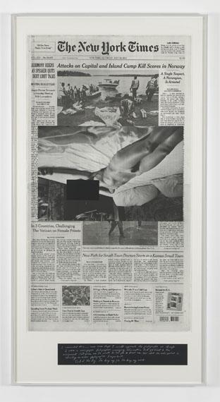 Leigh LedareAn Invitation: Saturday 23 July, 20112012Photolitographic on archival newsprint, silkscreen, pencil©Leig Ledare. Courtesy of the artist and Pilar Corrias Gallery, London144,8 x 76,2 cm
